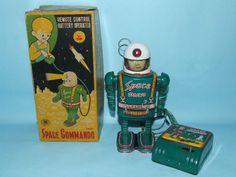 MASUDAYA SPACE MAN COMMANDO TIN ROBOT TOY & BOX