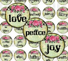 WHiMSiCaL 15 inch CiRCLeS inpirational words by LandofEnchantment, $3.98