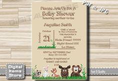 Woodland Baby Shower Invitation - Baby Shower Invitation Wood - Baby Shower Invites - Woodland Printable Invitation, DIY, Custom by DigitalitemsShop on Etsy