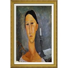 Global Gallery 'Hanka Zborowska with a Candlestick' by Amedeo Modigliani Framed Painting Print