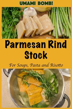 Turn leftover parmesan cheese rinds into an intense, umami packed parmesan rind stock that's perfect for pasta, risottos, soup base and more. Use a Pressure Cooker for faster results! Soup Recipes, Cooking Recipes, Healthy Recipes, Party Recipes, What's Cooking, Sweets Recipes, Delicious Recipes, Healthy Food, Yummy Food