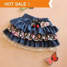 Children's Clothing Baby Girl Little Skirt Girls Pleated Denim Skirt 2014 New kids Cotton Lace Baby one piece Skirts $10.90