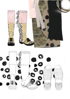 Fashion Sketchbook - footwear illustrations & textile sampling; fashion design process; fashion portfolio // Giryung Kim