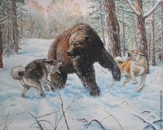 """Купить Копия картины """"Травля медведя"""" - комбинированный, охота, травля медведя, охота на медведя, охотнику"""