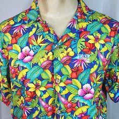IBM-Rain-Forest-Jungle-Fronds-Mens-Hawaiian-Shirt-Medium-M-L-Sewn-Logo-USA-Made