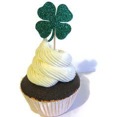 St Patricks Day party decorations, clover cupcake toppers, Saint Patrick's Day, Irish, green shamrock, 4 leaf clovers, shamrocks, food picks