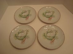 4 Retired 1981 Fitz and Floyd Variations Rabbit Sandwich Plates Made in Japan | eBay