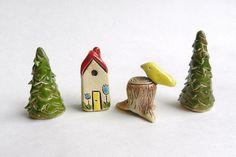 Ceramic miniature Set house tree bird miniature by potteryhearts