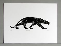 This handmade, art deco inspired, linocut print of a panther has been produced in a limited edition run of 30, and is numbered, titled, dated and signed in pencil by me (the artist).  Every step in the process of making the linocut, from drawing and designing, to carving and printing, is done by hand by me, and, as such, every print in the edition is absolutely unique and may vary ever so slightly from the illustration.  Printed in black vegetable oil based ink on beautiful Somerset Satin…