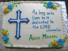"Baby Dedication Cake - 11"" x 15"" sheet cake with cross made with confectioner's sugar frosting."