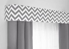 Custom Pelmet Box Cornice Board Window Treatment in modern gray chevron http://designerheadboardshop.com