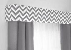 Custom Pelmet Box Cornice Board Window Treatment in modern gray chevron  http://designerheadboardshop.com