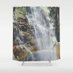 Rainbow in the waterfall. Retro Shower Curtain