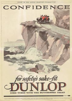 Original Vintage Print 1927 Dunlop Tyres Full Page Advertising Vintage Car Motoring Coastal Road Print Unmounted