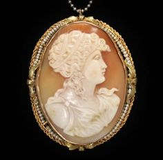 Antique-10K-Cameo-Seed-Pearl-Pendant-Brooch-LARGE-2-3-Long