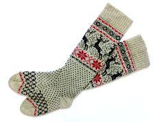 Long wool socks with deers Long gray wool socks Warm wool socks Women wool socks Christmas gift-wrap Scandinavian Pattern, Scandinavian Style, Knitting Socks, Knit Socks, Womens Wool Socks, Warm Socks, Christmas Gift Wrapping, Leg Warmers, Handmade