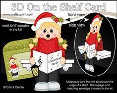 3D On The Shelf Card Kit - Little Christmas Girl Goes Carol Singing