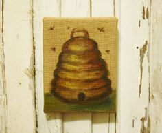 Bee Skep Painting Oil on Burlap Panel by TheFarmhousePorch on Etsy, $58.00