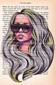Amanda Bynes drawing on vintage paper. on Etsy, $15.00