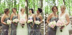 Hamilton ON Wedding  The Ancaster Old Mill  bridesmaids  grey dresses  Sherman Falls