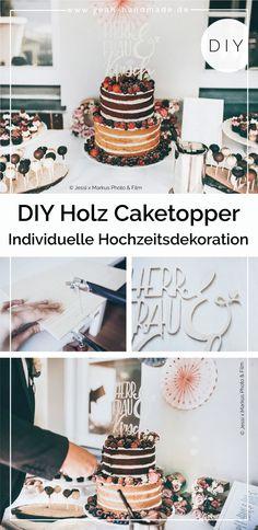 DIY Hochzeitsideen | Caketopper mit Schriftzug bzw. Lettering aus Holz selber machen. Individuelle Hochzeitsdeko basteln für eine Boho- oder Scheunenhochzeit. Nicht nur perfekt für die Hochzeitstorte, sondern auch als Caketopper für einen Geburtstagskuchen oder andere Events. Kreative Anleitung und Tipps zum Sägen mit einer Laubsäge auf Yeah Handmade. Diy Party Dekoration, Homemade Home Decor, Themed Cakes, Diy Wedding, Wedding Ideas, Chocolate Cake, Cake Toppers, Cake Recipes, Cake Decorating