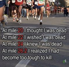 Marathons are intriguing before you actually run one...then it becomes a love/hate thing. Miles 1-15 seem to fly by (love), 15-25 take a year (hate) then at 26 you can't believe it's over and consider doing it again. Crazy!