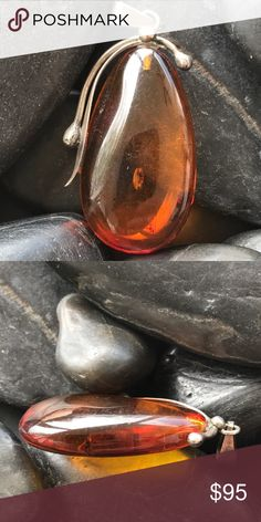 """Huge Vintage Baltic Amber Sterling silver Pendant Absolutely stunning beautiful huge Baltic amber Sterling silver pendant.   This pendant is big and is in the shape of a teardrop.   It measures 2"""" Vintage Jewelry"""