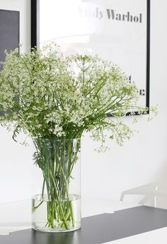 glass vase with Cow parsley. Simple and chic.