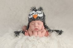 Newborn Baby Boy Wearing an Owl Hat royalty-free stock photo 6aa169077f40