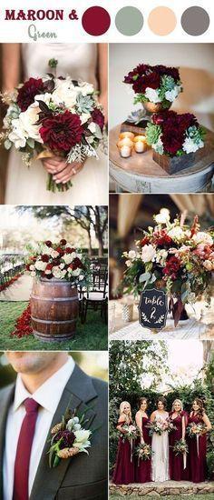 maroon,soft green and blush fall wedding color ideas for autumn season #weddingflowers