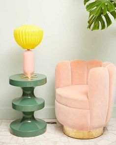 80sdeco: pastel pink, muted emerald green totem table, vaguely...