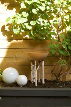 wood birdbath -diy ideas
