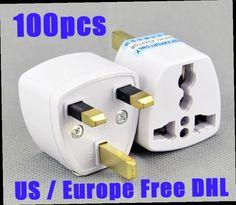 50.00$  Buy now - http://aliygo.worldwells.pw/go.php?t=32649175418 - High quality 100 Pcs / Lot Universal EU US AU to UK AC Travel Power Plug Charger Adapter Converter Travel Adaptors UK Free LG152