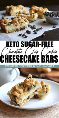 keto cookies Two fabulous desserts in one! Almond flour cookie dough baked with a filling of creamy sugar-free cheesecake, for a delectable keto treat. So good, no one will believe they are low carb and grain-free! Keto Desserts, Desserts Sains, Sugar Free Desserts, Sugar Free Recipes, Healthy Dessert Recipes, Low Carb Recipes, Recipes With Almond Flour No Sugar, Breakfast Recipes, Diabetic Desserts Sugar Free Low Carb