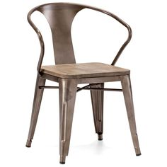 0025a9ff11da Industrial Style Metal and Rustic Wood Dining Chairs (Set of 2) - ZM Home