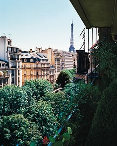 Lee Radziwill - view of the Eiffel Tower, from herbalcony. François Halard - NYTimes.com