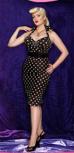 """Polka Dot Wiggle Dress - """"Deadly Dames""""  Fitted Wiggle Dress in Black with White Polka Dots"""