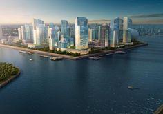 Dubai Waterfront, New York Skyline, River, City, Building, Outdoor, Outdoors, Buildings, Cities