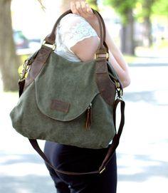 canvas bag shoulder bag leather bag shopper tote bag by KettyLong