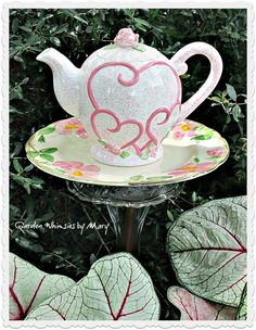 Pink Hearts Teapot Garden Totem Stake  As by GardenWhimsiesByMary