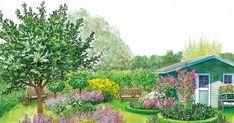 Eine große Rasenfläche im Garten kann einen verlorenen Eindruck machen. In zwei Gestaltungsideen zum Nachpflanzen zeigen wir Ihnen, wie Sie daraus