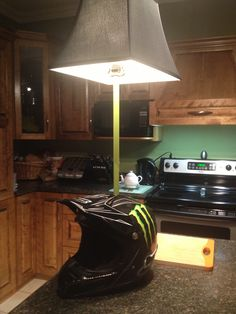 Cody made his own motocross helmet lamp :) #DIY #MONSTER #FOX