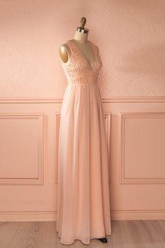 Balda Petal - Pink lace and veil low-cut maxi dress