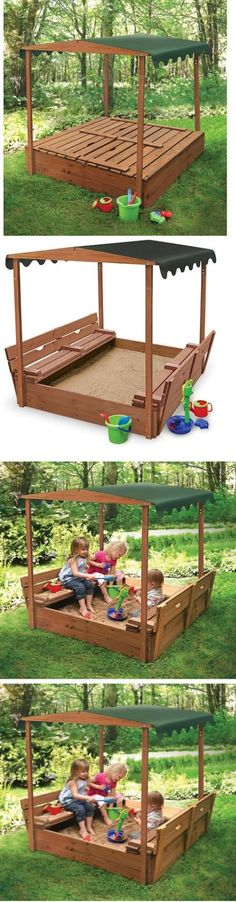 Sandbox Toys and Sandboxes 145990 New Outdoor Kids Covered Convertible Cedar Sandbox With Canopy 2 & Outward Play Play Fort Wood Sandbox with Canopy - OUT110 ...