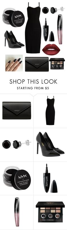 """""""Black"""" by emmalouloulovespolyvore on Polyvore featuring Balenciaga, MaxMara, Yves Saint Laurent, NYX, Maybelline, Rimmel, Bobbi Brown Cosmetics and Lime Crime"""