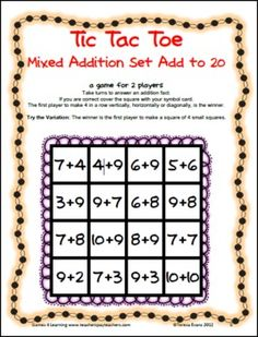 FREEBIE - Addition Tic Tac Toe from Games 4 Learning combines the fun of Tic Tac Toe and with practice of basic addition facts.