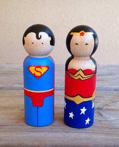 KrisTeenyTinys--Superman and Wonder Woman peg doll cake topper