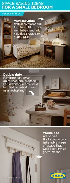 Space savings ideas for a small bedroom from the IKEA Home Tour Squad. Don't let any space go to waste. Make use of the vertical space by adding wall shelves and hooks over your door.