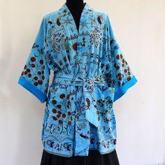 Kimono court homme ou femme bleu turquoise à dessins ethnique : Autres mode par akkacreation