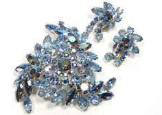 La Roco Brooch Earring Set Rhinestones Ice Blue & Aurora Borealis Smokey Rhinestones by SassyBeauties